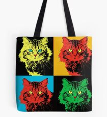 CAT POP ART  yellow red green Tote Bag