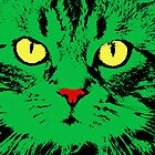 CAT POP ART  GREEN by NYWA-ART