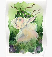 Fairy with Flower Crown Poster