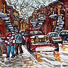 MONTREAL WINTER STREET SCENE RED SNOW PLOW HOCKEY ART PAINTING FOR SALE by Carole  Spandau