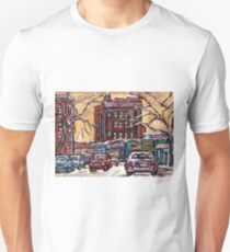VAN HORNE MONTREAL WINTER SCENE PAINTINGS FOR SALE QUEBEC SMALL FORMAT PAINTINGS Unisex T-Shirt