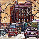 VAN HORNE MONTREAL WINTER SCENE PAINTINGS FOR SALE QUEBEC SMALL FORMAT PAINTINGS by Carole  Spandau