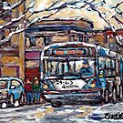 PARK AVENUE WINTERSCENE PAINTING ALL ABOARD THE 80 BUS MONTREAL ART  by Carole  Spandau