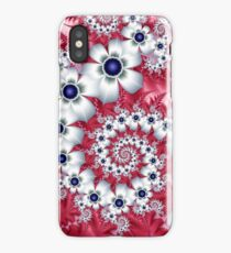 white abstract fractal flowers  iPhone Case/Skin