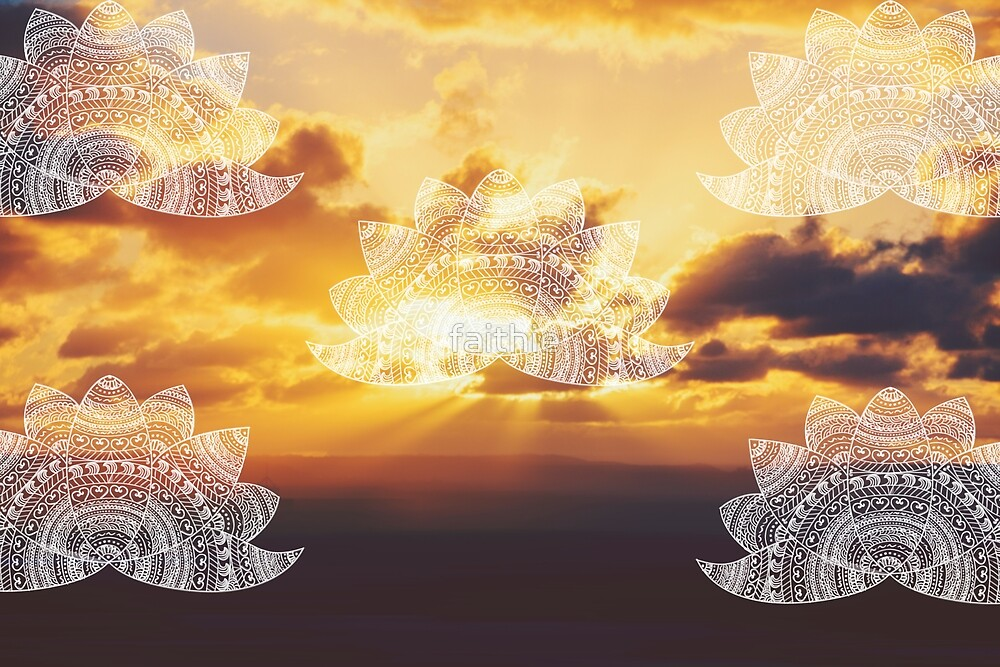 white lotus mandalas on golden orange sunset with sun flare rays by faithie