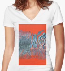 Red Abstract Terrain Women's Fitted V-Neck T-Shirt