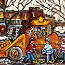 CANADIAN WINTER SCENE PAINTING FOR SALE HOCKEY KIDS PLAY AS SNOW PLOWS CLEAN CITY STREETS by Carole  Spandau