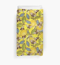Yellow lemon and bee garden. Duvet Cover