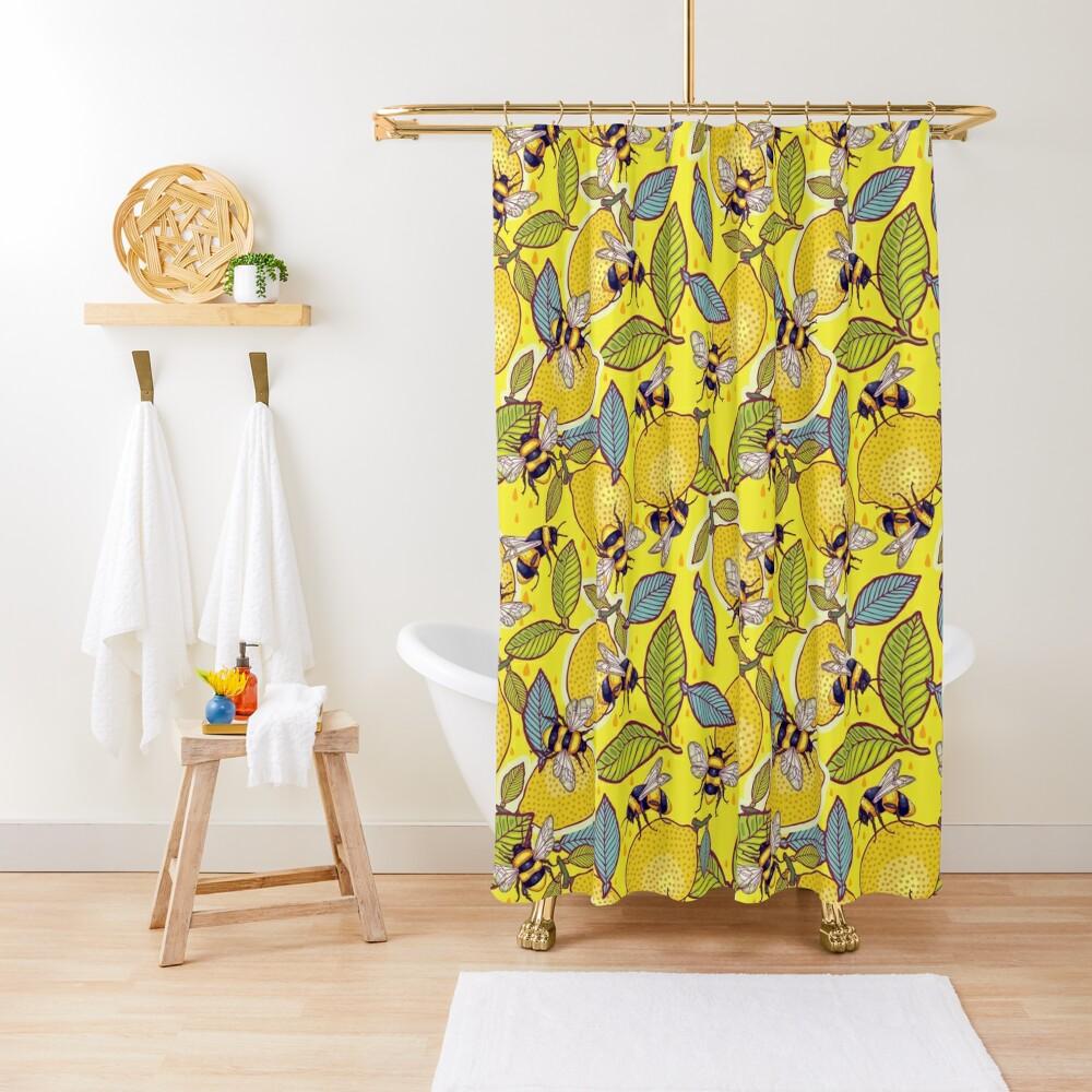 Yellow lemon and bee garden. Shower Curtain