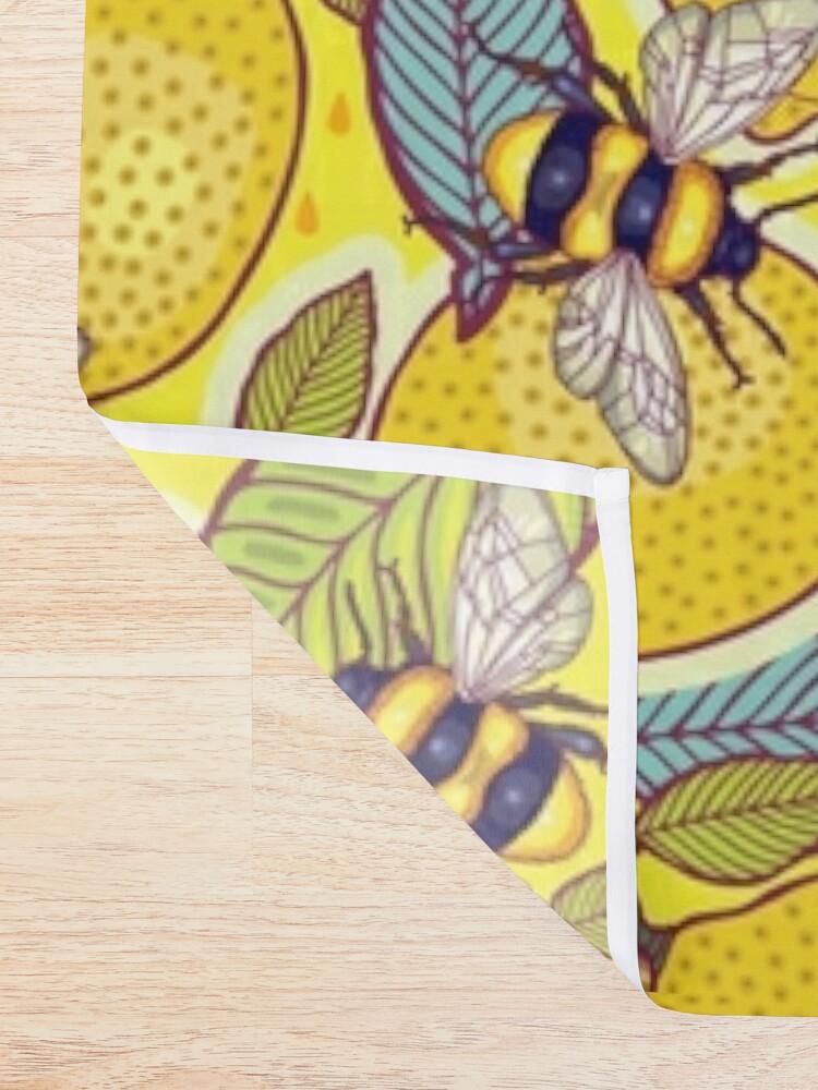 Alternate view of Yellow lemon and bee garden. Shower Curtain