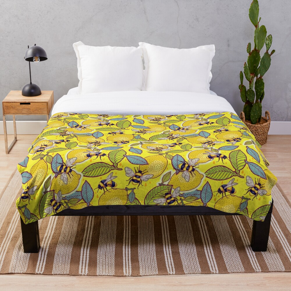 Yellow lemon and bee garden. Throw Blanket