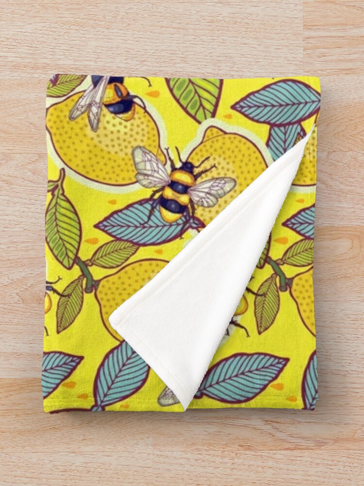 Alternate view of Yellow lemon and bee garden. Throw Blanket