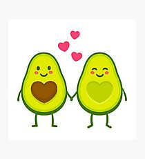 Cute avocados in love Photographic Print