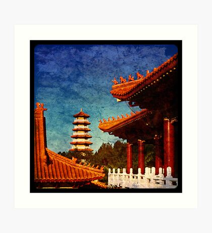 Nan Tien Buddhist Temple - view of Pagoda from Main temple Art Print