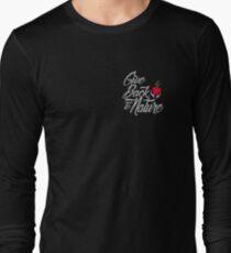 Give Back To Nature Slogan - Black Background - Small Logo Long Sleeve T-Shirt