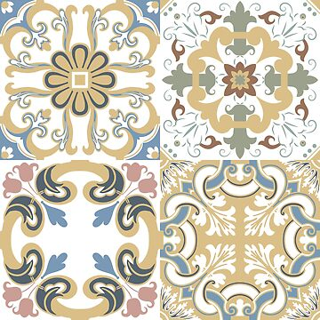 Vector set of Portuguese tiles patterns. Collection of colored patterns for design and fashion. by AnaMOMarques