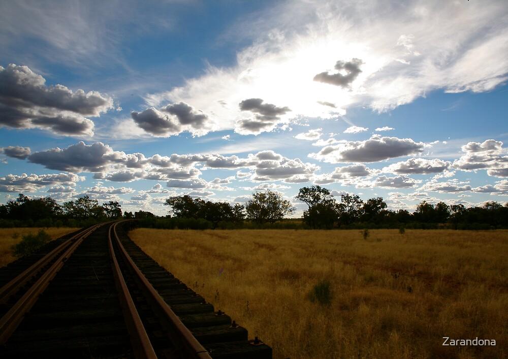 Railroad through the outback by Zarandona