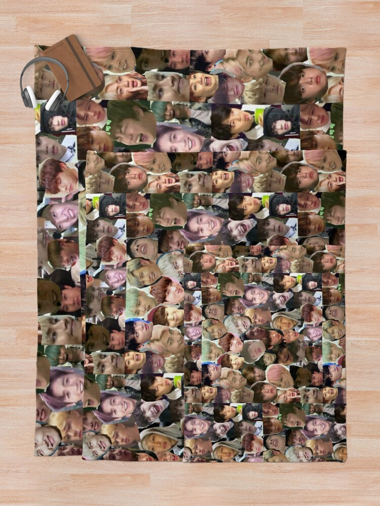 Alternative Ansicht von BTS - MEME FACE COLLAGE Fleecedecke