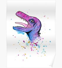 Colorful Weird Splash Dinosaur Poster