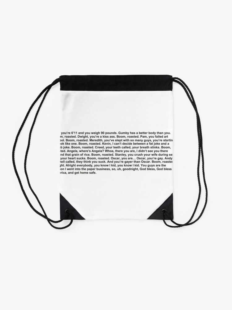 Alternate view of the office boom roasted Drawstring Bag