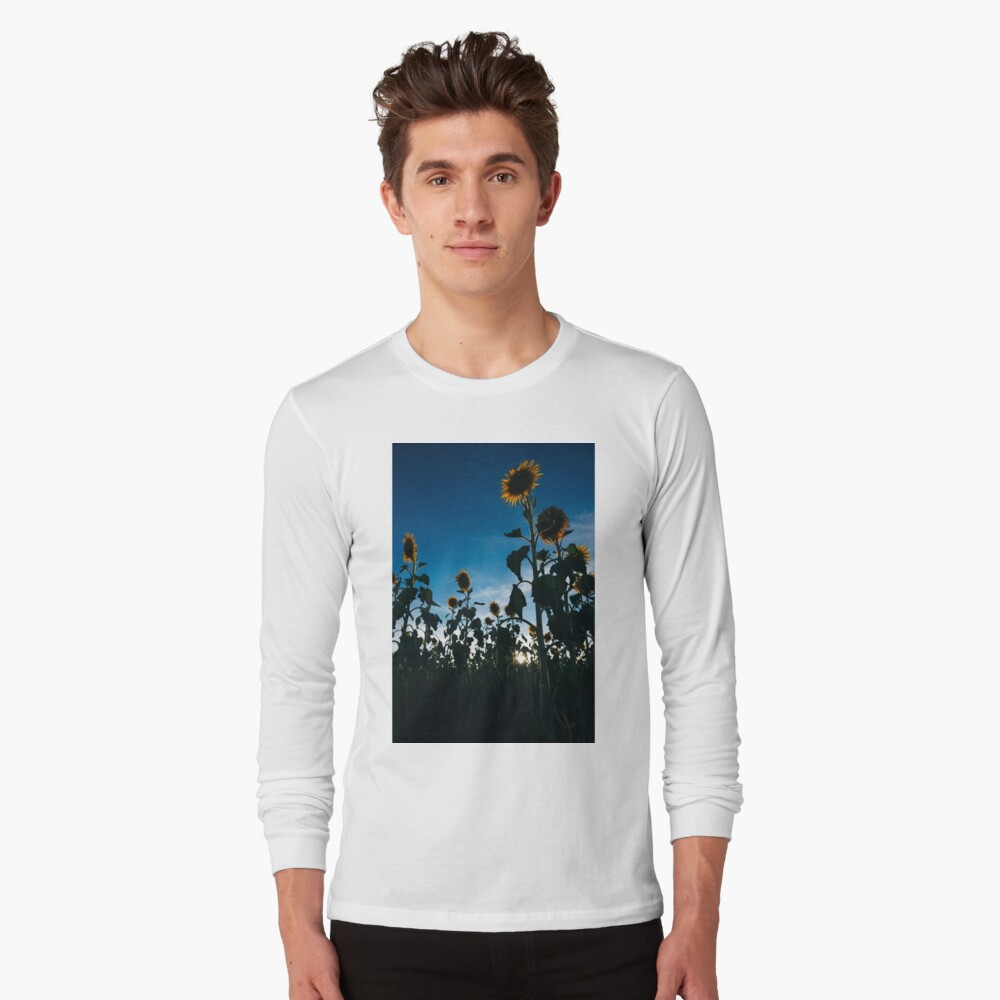 Sunflowers in a field in the afternoon. Long Sleeve T-Shirt Front