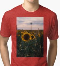 Sunflowers in a field in the afternoon. Tri-blend T-Shirt