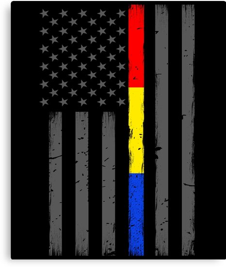 Fire Police Dispatcher Flag Thin Red Gold Blue Line