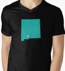New Mexico Love in Teal Men's V-Neck T-Shirt