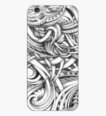 Escher Like Abstract Hand Drawn Graphite Gray Depth iPhone Case
