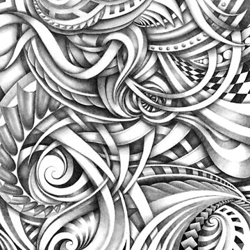 Escher Like Abstract Hand Drawn Graphite Gray Depth by DooodleGod