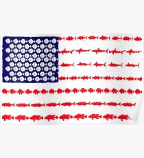 American flag bass fish posters redbubble for American flag fish