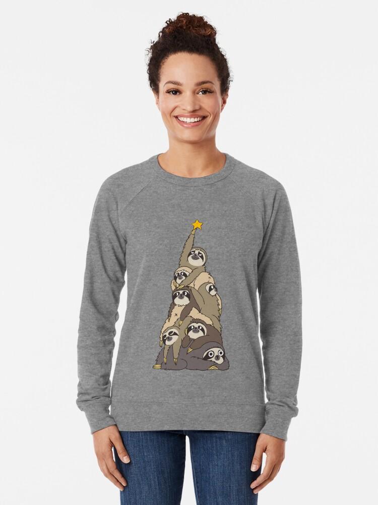 Alternate view of Christmas Tree Sloths Lightweight Sweatshirt