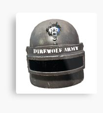 Level 3 Direwolf Army Helmet Metal Print