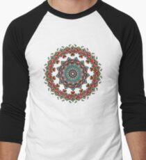 Mandala Christmas Pug Men's Baseball ¾ T-Shirt
