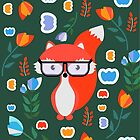 Cute fox with glasses and flowers by cocodes