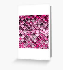 Pink Purple Magenta Sparkle Faux Glitter Mermaid Scales Greeting Card