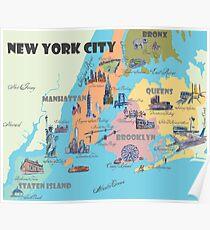 Póster Nueva York NY destacados Mapa