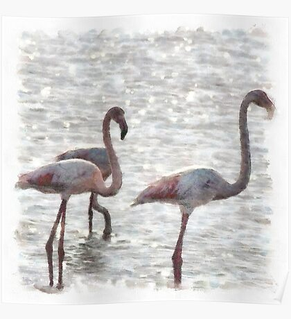 Three Flamingos Watercolor Poster