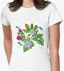 flowers abstrac Women's Fitted T-Shirt