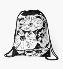 Inky Black and White Floral 3 Drawstring Bag