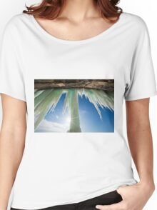 Sun Burst on Grand Island Ice Curtain near Munising Michigan Women's Relaxed Fit T-Shirt