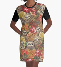 Because Sloths Autumn Graphic T-Shirt Dress