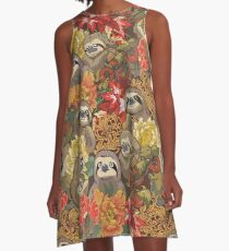 Because Sloths Autumn A-Line Dress