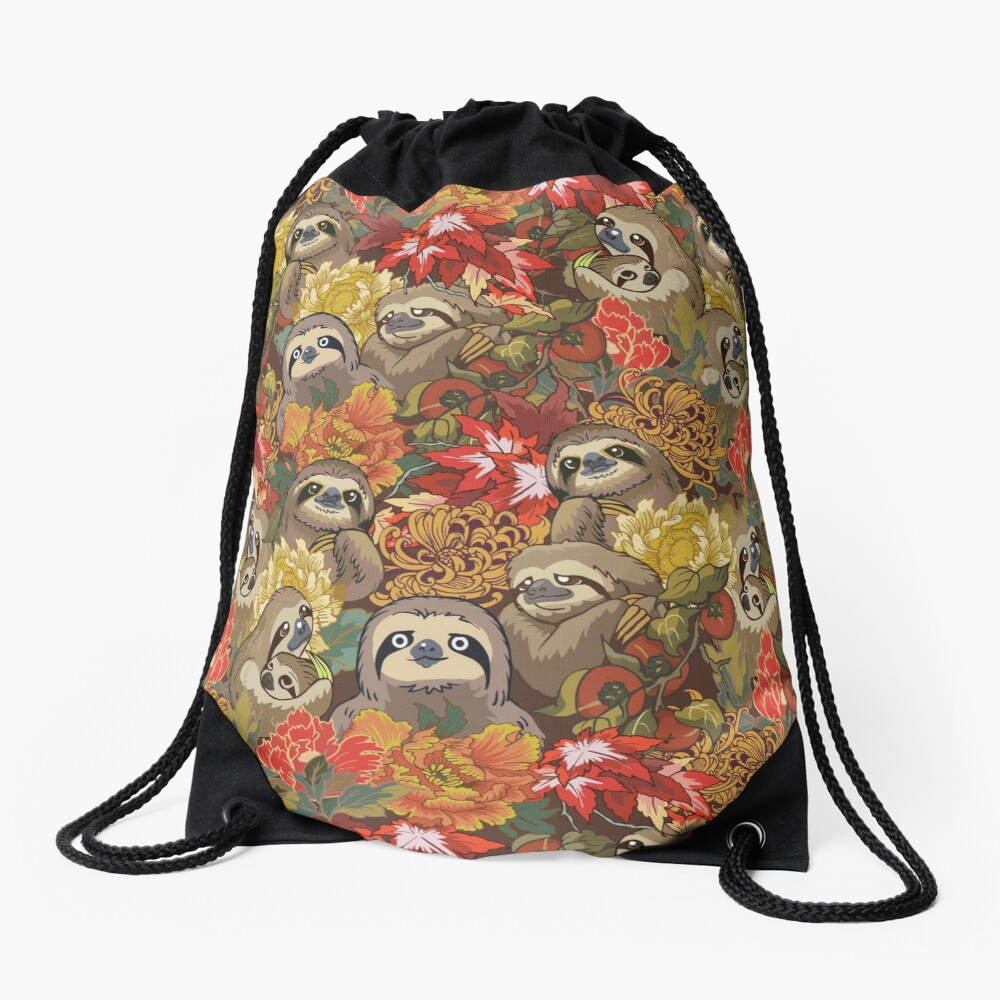 Because Sloths Autumn Drawstring Bag