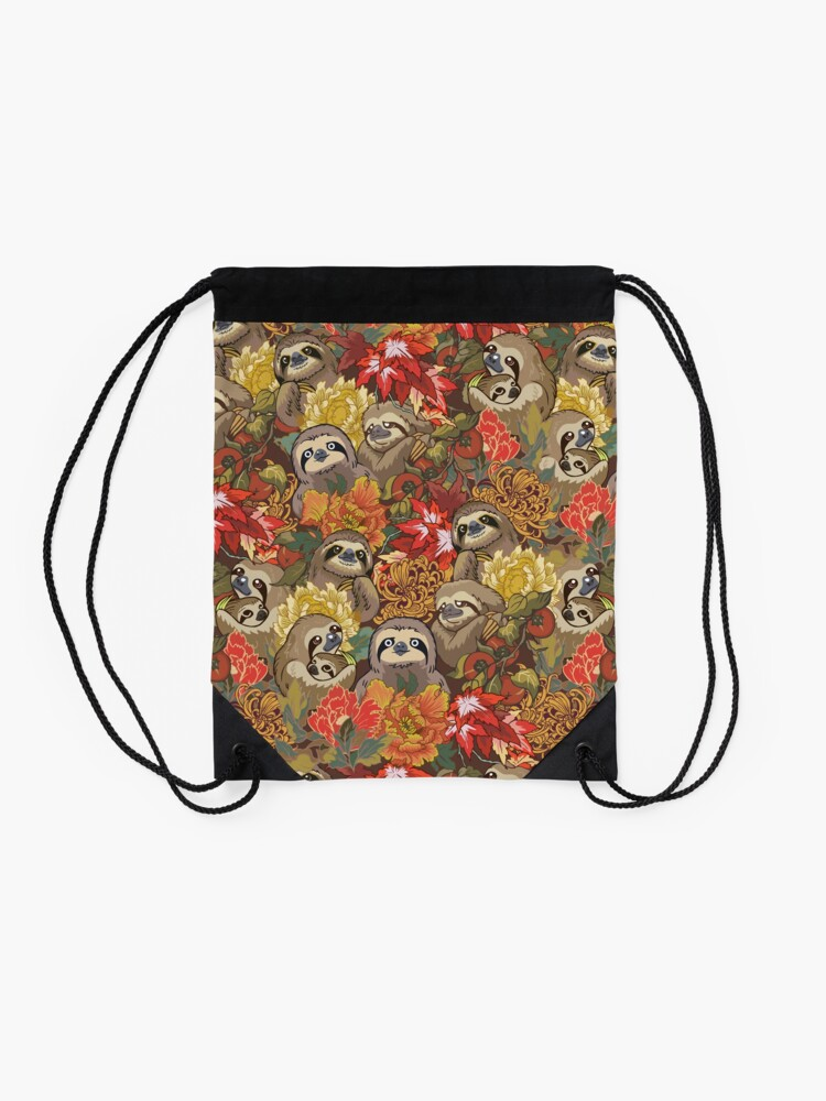 Alternate view of Because Sloths Autumn Drawstring Bag