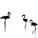 We Are The Three Flamingos Silhouette In Black by taiche