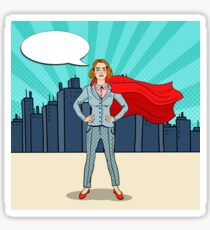 Pop Art Confident Business Woman Super Hero in Suit with Red Cape.  Sticker