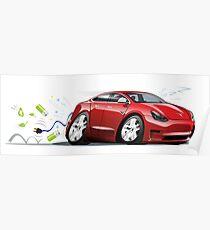 Cartoon electric car Poster