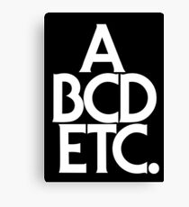 ABCDETC (white) Canvas Print