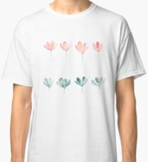 Watercolor pink and blue flowers Classic T-Shirt